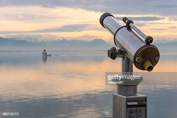Germany, Lake Constance, coin operated binoculars in Lindau