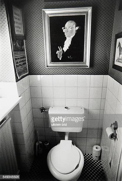Germany lavatory of Vicco von Buelow alias Loriot with cartoon from him meaning one of his ancestor