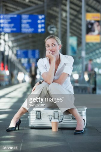 germany leipzighalle young woman at airport departure. Black Bedroom Furniture Sets. Home Design Ideas