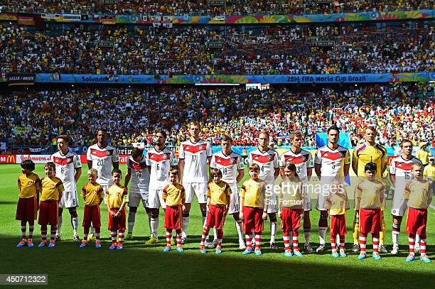Germany line up for the National Anthems prior to the 2014 FIFA World Cup Brazil Group G match between Germany and Portugal at Arena Fonte Nova on...