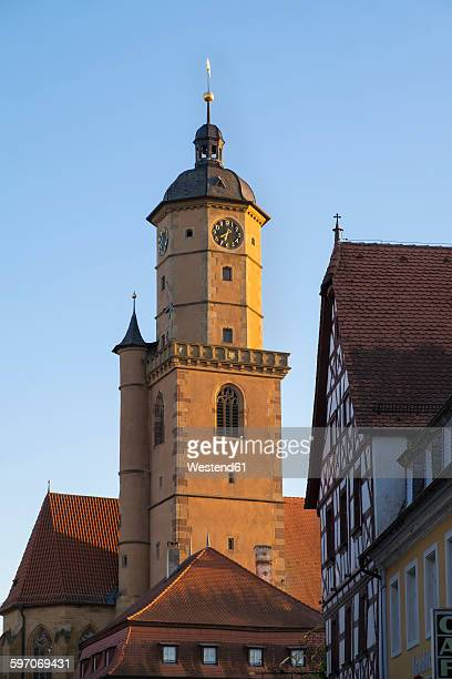 Germany, Lower Franconia, Volkach, Spire of Church of St Barthlomaeus and St Georg