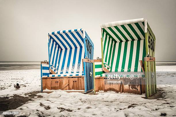 Germany, Lower Saxony, beach chairs at the beach of Langeoog
