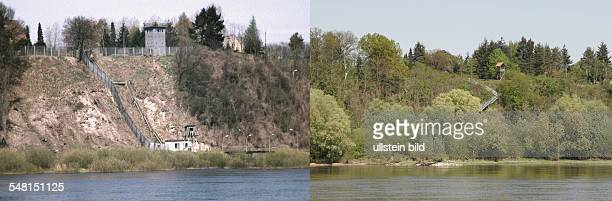 Germany Lower Saxony left The Iron Curtain at the Elbe river between Lower Saxony and Boizenburg GDR right the Elbe river between Lower Saxony and...