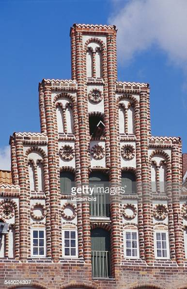 Germany Lower Saxony Lueneburg Gable of a historic house at the marketplace 'Am Sande'
