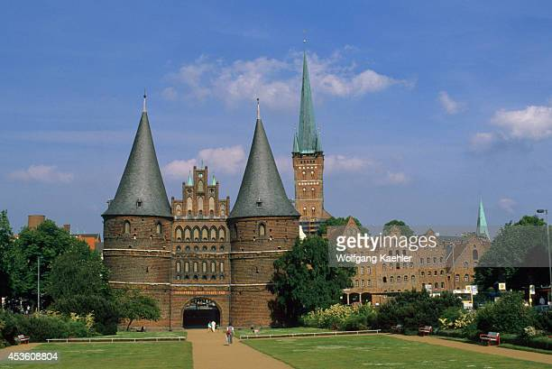 W Germany Lubeck Holstentor Holsten Gate With St Petri Church