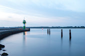 Germany, Lubeck, View of lighthouse on jetty