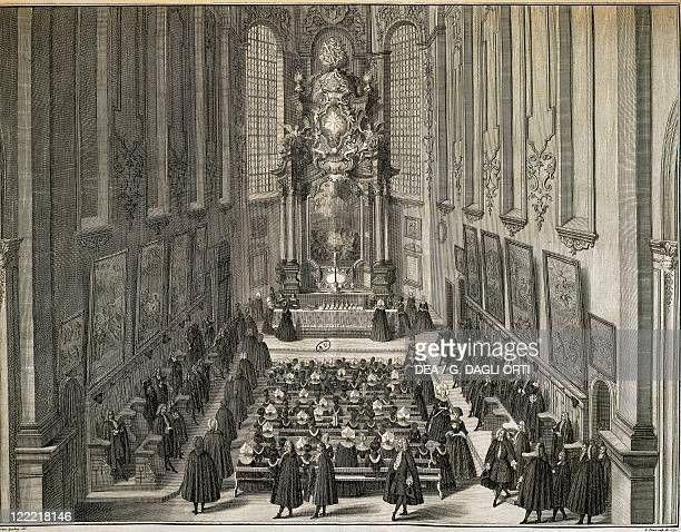 Germany Lutheran Holy Communion in the Church of Minorities in Augsburg engraving by Hieronymus Sperling 1732
