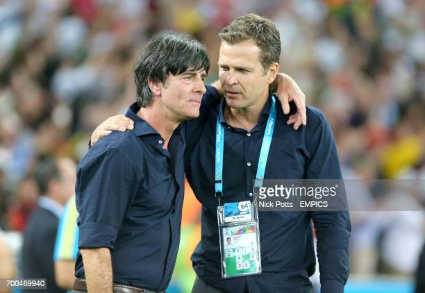 Germany manager Joachim Loew embraces General Manager Oliver Bierhoff after the game