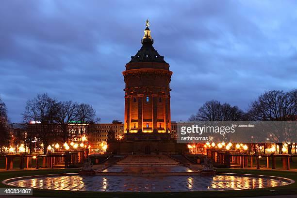 Mannheim, Deutschland, Water Tower im winter