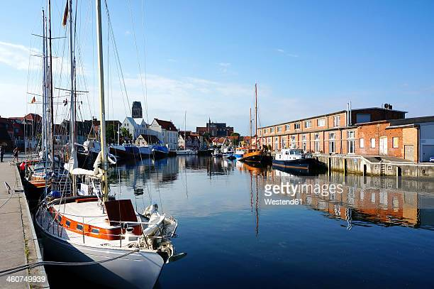 Germany, Mecklenburg Western Pomerania, View of sailing boats at Wismar harbour