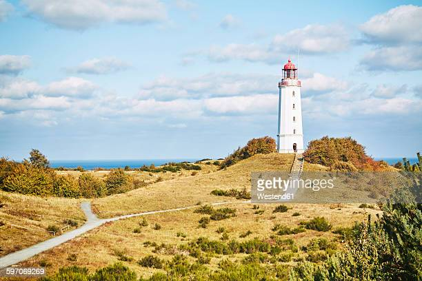 Germany, Mecklenburg-Western Pomerania, Hiddensee, Dornbusch, view to landscape and lighthouse