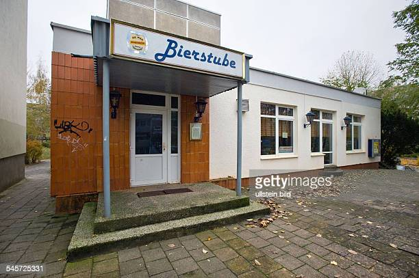 Germany MecklenburgWestern Pomerania Neubrandenburg closed pub in a landmarked building made with precast concrete slabs type WBS 70