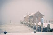 Germany, Mecklenburg-Western Pomerania, Ruegen, Pier in Gager in winter