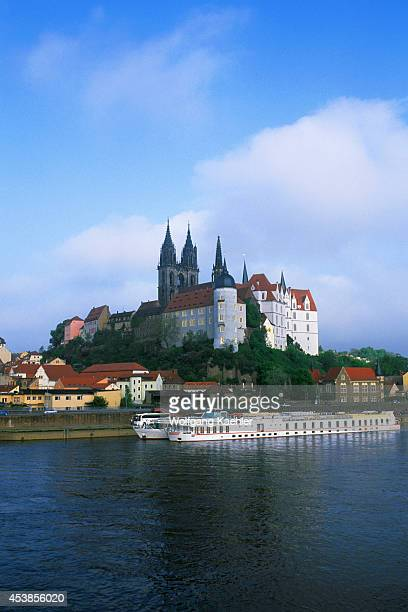 Germany Meissen Elbe River View Of Albrechtsburg Castle And Meissen's Gothic Cathedral