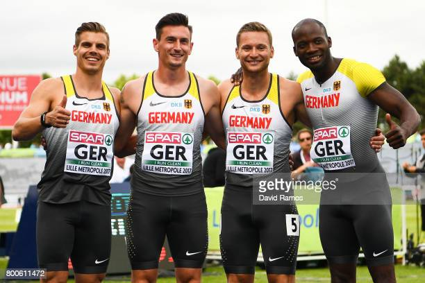 Germany Men's 4x100m relay team members Julian Reus Robert Hering Roy Schmidt and Aleixo Platini Menga pose for a picture after being second in their...