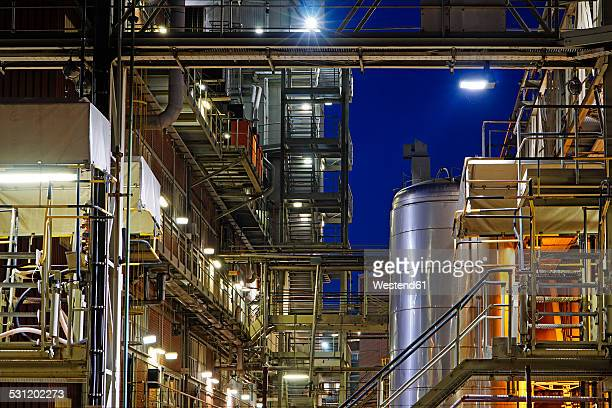 Germany, Minden, chemical plant at night