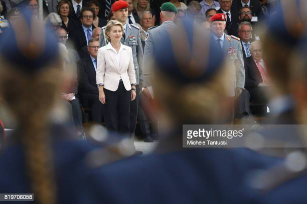 Germany Minister of defence Ursula von der Leyen looks at recruits of the German armed forces Bundeswehr during a swearing in ceremony in the...