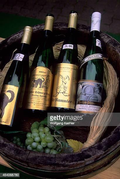 Germany Mosel River Zell Street Scene Wine Bottles