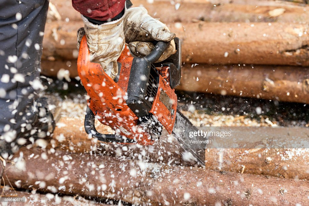 Germany, Muehlenbach, loggers hands sawing tree trunk with motor saw