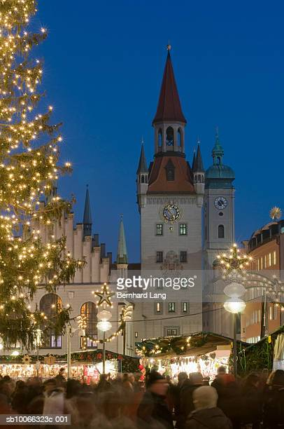 Germany, Munich, Christmas Market at Marienplatz and tower of old town hall