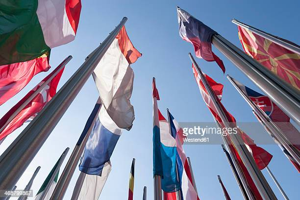 Germany, Munich, Flags in front of the German Patent Office
