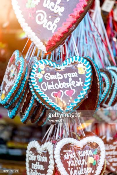 Germany, Munich, gingerbread hearts at the Oktoberfest