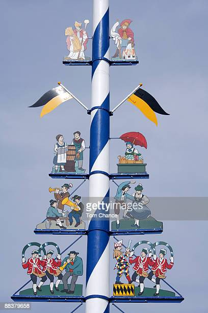 Germany, Munich, Maypole against sky, close-up