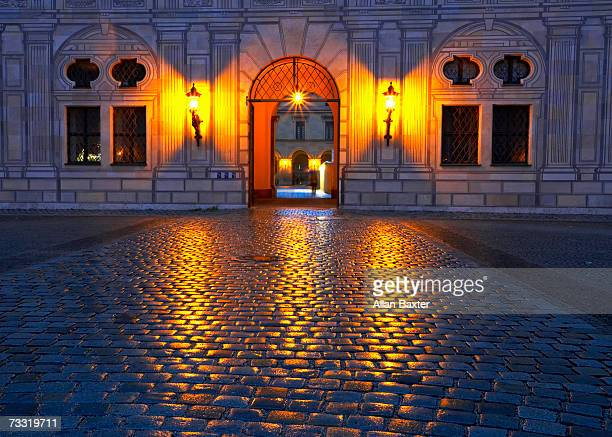 Germany, Munich, Neues Rathaus, Residenz, wall lamp on street