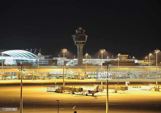 Germany, Munich, View of munich airport at night