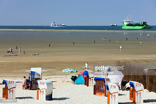 Germany, Niedersachsen, Cuxhaven, Beach chairs