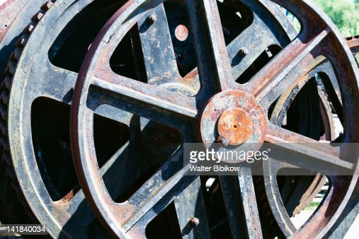 Germany, Nordrhein-Westfalen, Ruhr Basin, Dortmund, LWL Industrial Museum, Zollern Colliery, Gears and wheels : Stock Photo