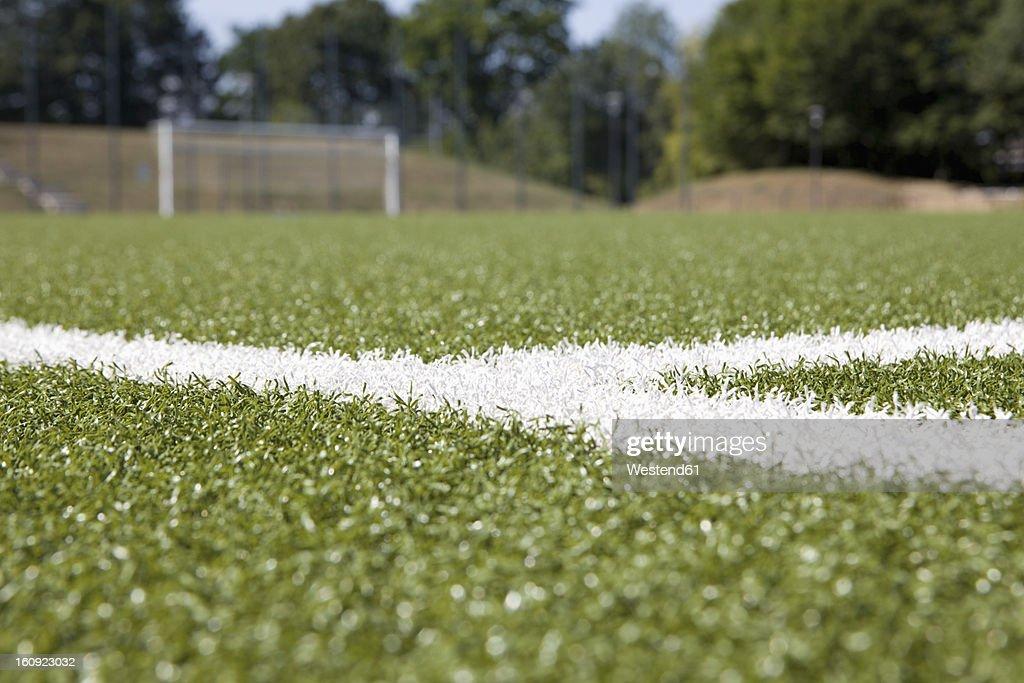 Germany, North Rhine Westphalia, Neuss, Painted lines on soccer field
