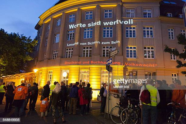 Germany North RhineWestphalia Bielefeld journalists demonstration for high quality journalism better paying and better working conditions