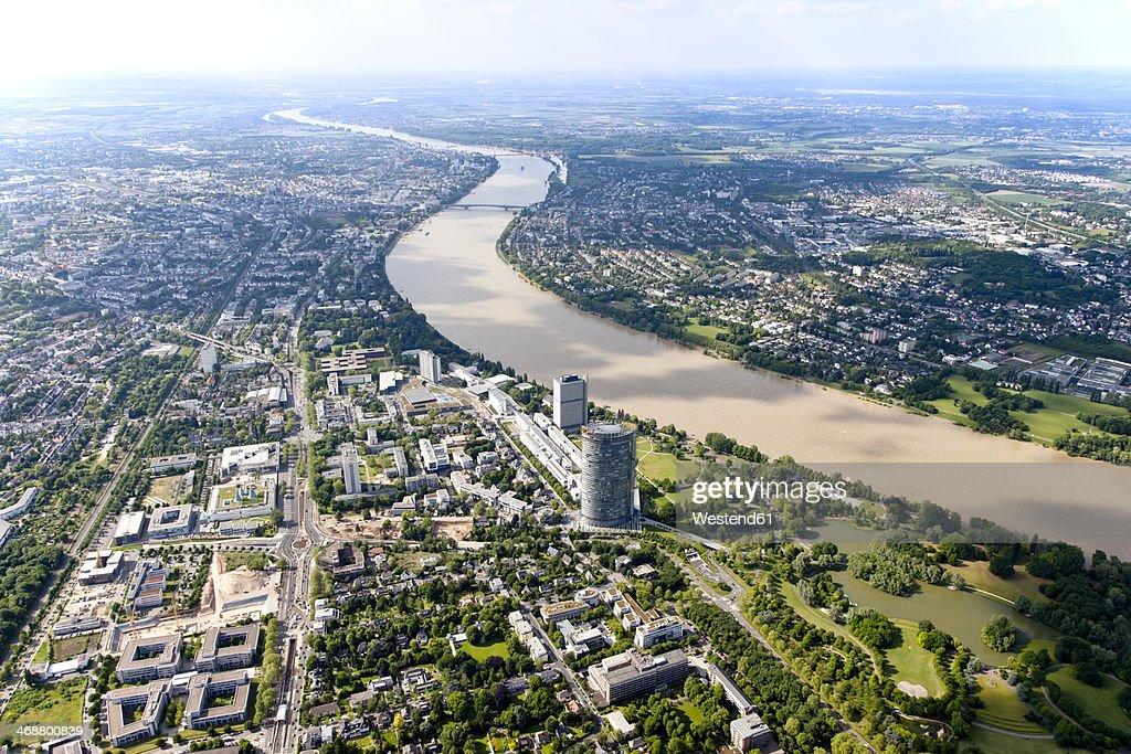 Germany, North Rhine-Westphalia, Bonn, View of city with Posttower at River Rhine, aerial photo