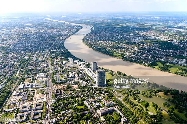 Germany, North Rhine-Westphalia, Bonn, View of city with Posttower at River Rhine, aerial photo