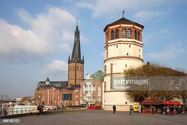 Germany, North Rhine-Westphalia, Duesseldorf, Burgplatz, Castle Tower, Shipping Museum, Lambertus Church