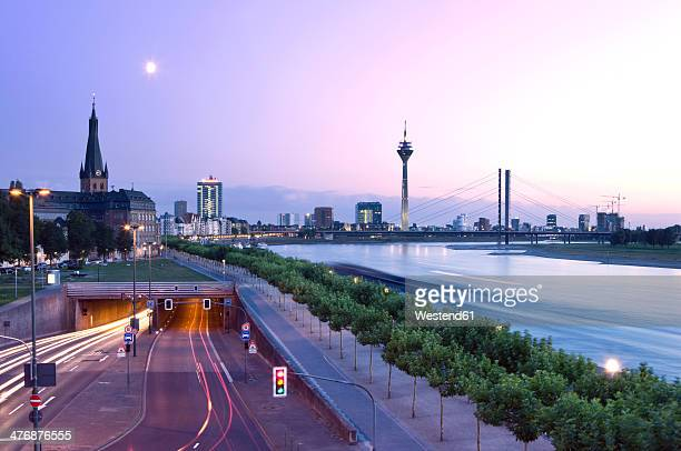 Germany, North Rhine-Westphalia, Dusseldorf, Joseph-Beuys-Ufer and Rhine River