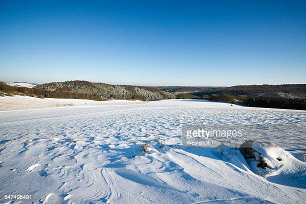 Germany, North Rhine-Westphalia, Eifel, winter landscape at Kalvarienberg