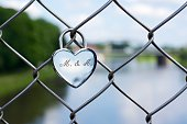 Germany, North Rhine-Westphalia, Minden, Love lock on Glacis bridge