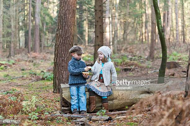 Germany, North Rhine-Westphalia, Moenchengladbach, Scene from fairy tale Hansel and Gretel, brother and sister eating bread in the woods