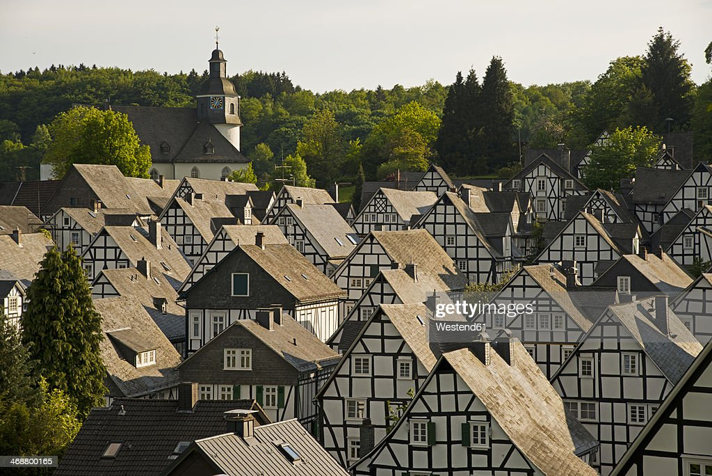 Germany, North Rhine-Westphalia, Siegerland region, historic town centre, half-timbered houses