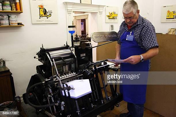 Westphalian openair museum district museum for manual work and technics Original Heidelberg printing press from 1949