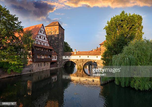 Germany, Nuremberg, wine bar and water tower at Pegnitz River