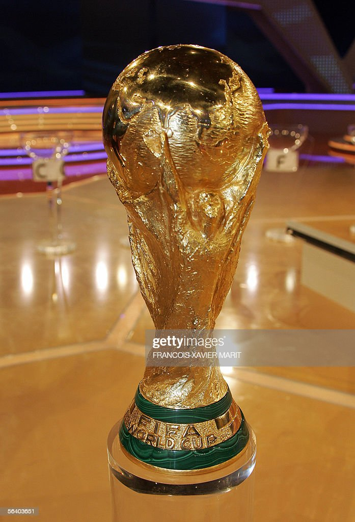 Picture of the World Cup trophy taken during the final draw of the Fifa World Cup 2006 in Leipzig 09 December 2005. World Cup holders Brazil and the other 31 nations competing in next year's finals learned their first-round opponents when the draw was made in a star-studded ceremony.