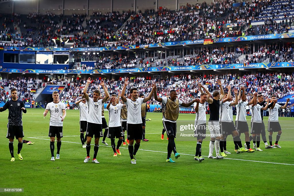 Germany players applaud their supporters after their 3-0 win in the UEFA EURO 2016 round of 16 match between Germany and Slovakia at Stade Pierre-Mauroy on June 26, 2016 in Lille, France.