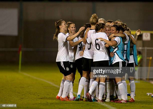 Germany players celebrate after a goal during the UEFA Women's Under19 European Championship group stage match between U19 Spain and U19 Germany at...