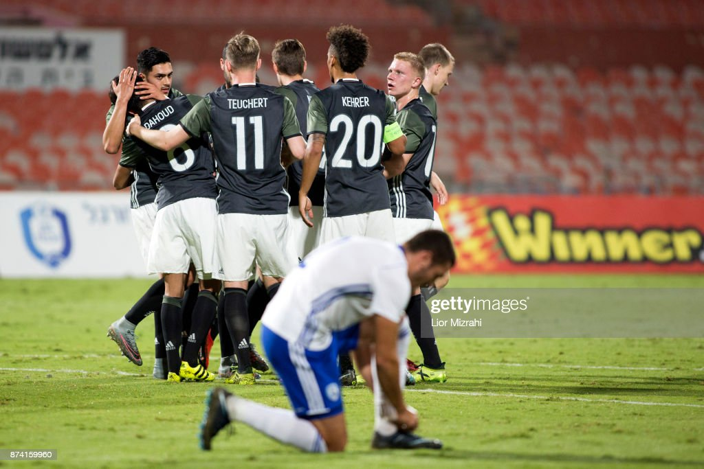 Germany players celebrate after scoring a goal during the UEFA Under21 Euro 2019 Qualifier on November 14, 2017 in Ramat Gan, Israel.