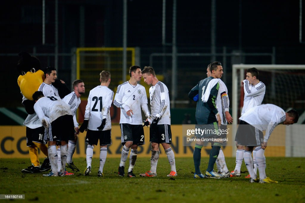 Germany players celebrate after the International Friendly match between U19 Germany and U19 Spain on March 20, 2013 in Duesseldorf, Germany.