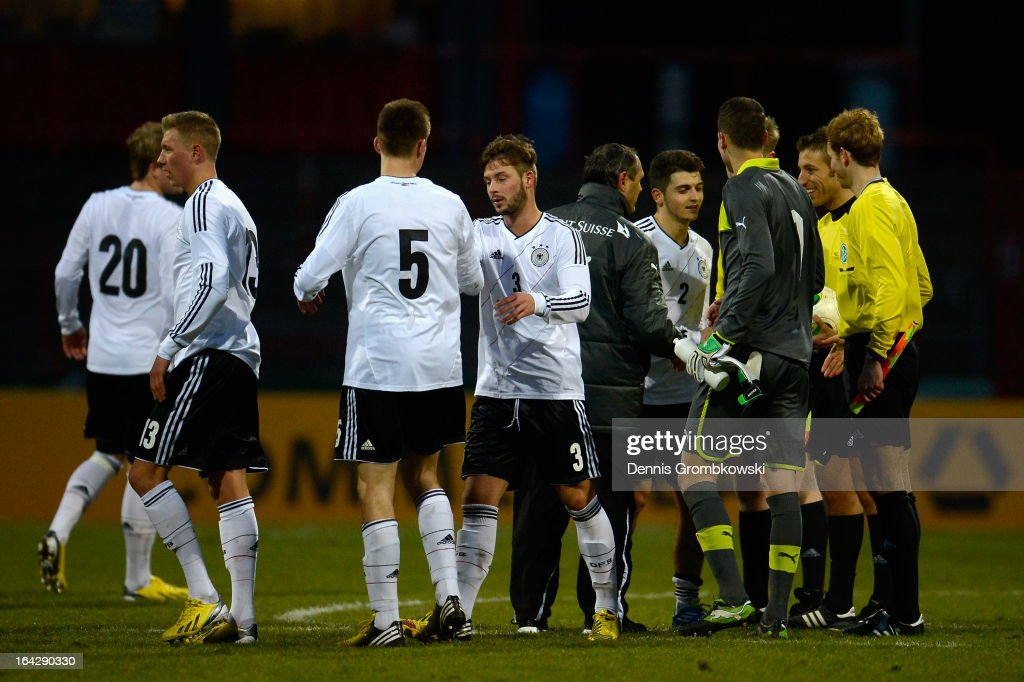 Germany players celebrate after the International Friendly match between U20 Germany and U20 Switzerland on March 22, 2013 in Cologne, Germany.