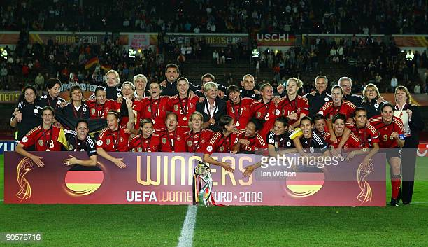Germany players celebrate after winning the UEFA Women's Euro 2009 Final match between England and Germany at the Helsinki Olympic Stadium on...